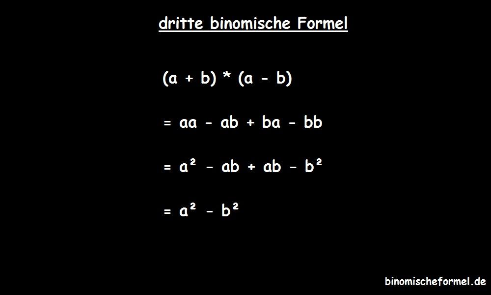 Die dritte binomische Formel ausmultipliziert